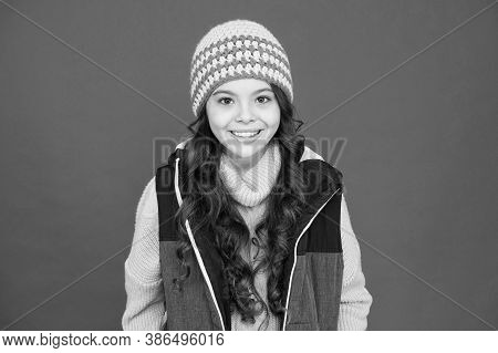 Update Your Look In Winter. Happy Child With Beauty Look Red Background. Vogue Look Of Small Fashion