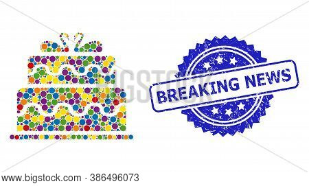Colored Mosaic Marriage Cake, And Breaking News Textured Rosette Seal Print. Blue Stamp Seal Has Bre