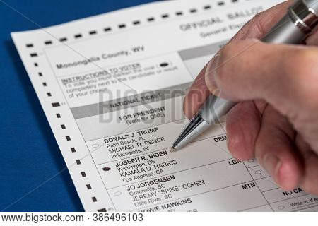 Morgantown, Wv - 22 September 2020: West Virginia Absentee Or Mail-in Ballot Form With Senior Mans H