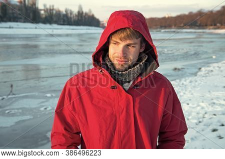 Cheerful And Positive. Warm Clothes For Frost. Chill Weather Forecast. Human And Nature. Man Enjoy S