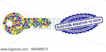 Vibrant Mosaic Key, And Election Register To Vote Grunge Rosette Stamp Seal. Blue Stamp Seal Include