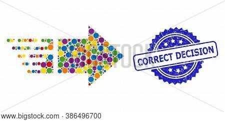 Multicolored Mosaic Move Right, And Correct Decision Dirty Rosette Stamp. Blue Stamp Seal Includes C