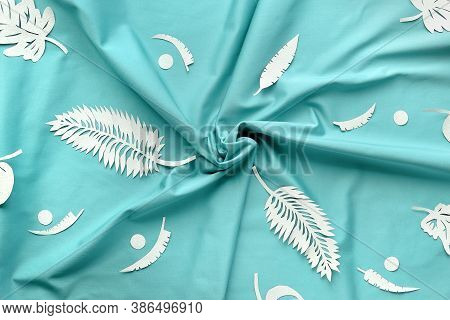Ai Aqua - Trendy Color Of The Year 2021. Trendy Top View, Exotic Leaves On Textile.