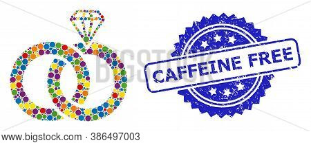 Colorful Mosaic Jewelry Wedding Rings, And Caffeine Free Rubber Rosette Seal Print. Blue Stamp Seal