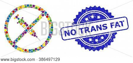 Multicolored Collage Stop Vaccine, And No Trans Fat Textured Rosette Seal Print. Blue Stamp Seal Has