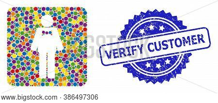 Colored Mosaic Groom, And Verify Customer Rubber Rosette Stamp. Blue Stamp Contains Verify Customer