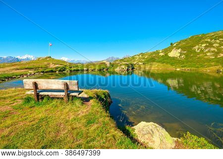 Lake At The Top Of Great Aletsch Glacier, The Largest Glacier In The Alps And Unesco Heritage From M