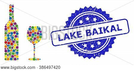 Colored Collage Wine Glassware, And Lake Baikal Grunge Rosette Stamp Seal. Blue Stamp Seal Has Lake