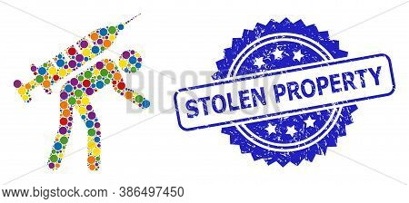 Multicolored Mosaic Vaccine Courier, And Stolen Property Grunge Rosette Stamp Seal. Blue Stamp Seal