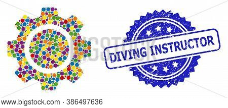 Colored Collage Cog Wheel, And Diving Instructor Dirty Rosette Stamp. Blue Stamp Seal Has Diving Ins