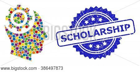Bright Colored Collage Human Intellect Gear, And Scholarship Corroded Rosette Stamp. Blue Stamp Has