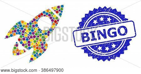Bright Colored Mosaic Rocket Flight, And Bingo Grunge Rosette Stamp Seal. Blue Stamp Seal Has Bingo