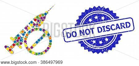 Bright Colored Mosaic No Vaccine, And Do Not Discard Corroded Rosette Stamp Seal. Blue Stamp Seal In
