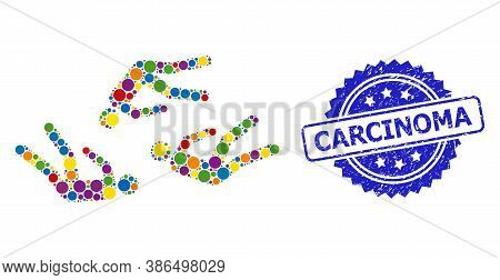 Vibrant Mosaic Dead People, And Carcinoma Dirty Rosette Seal Imitation. Blue Seal Has Carcinoma Tag