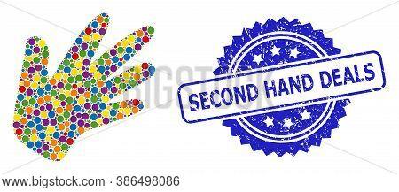 Colored Mosaic Hand, And Second Hand Deals Dirty Rosette Seal Print. Blue Seal Includes Second Hand