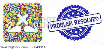 Multicolored Mosaic Divorce Swans, And Problem Resolved Rubber Rosette Stamp Seal. Blue Seal Has Pro