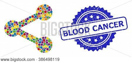 Colored Mosaic Share, And Blood Cancer Grunge Rosette Stamp. Blue Stamp Seal Includes Blood Cancer T