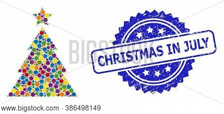 Colored Collage Christmas Tree, And Christmas In July Unclean Rosette Stamp Seal. Blue Seal Has Chri