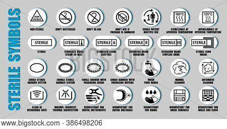 Full Vector Set Of Sterilized And Disinfectant Symbols For Medical Device Package, Using Iso, Fda Ic