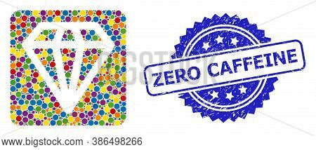 Multicolored Collage Diamond, And Zero Caffeine Textured Rosette Stamp. Blue Stamp Seal Includes Zer
