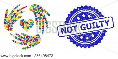 Multicolored Mosaic Lovely Craft Hands, And Not Guilty Rubber Rosette Stamp Seal. Blue Stamp Seal Co