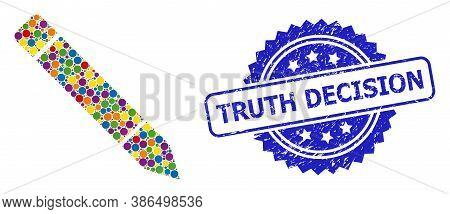 Bright Colored Collage Pencil, And Truth Decision Unclean Rosette Stamp. Blue Stamp Seal Includes Tr