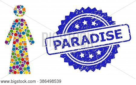 Bright Colored Mosaic Happy Woman, And Paradise Grunge Rosette Stamp Seal. Blue Stamp Seal Contains