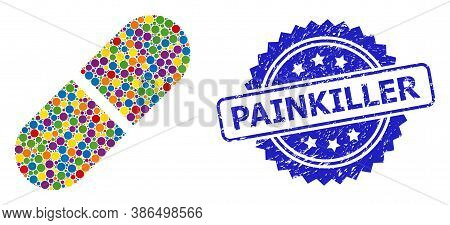 Multicolored Collage Medication Pill, And Painkiller Unclean Rosette Seal Imitation. Blue Seal Has P