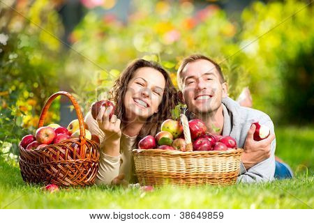 Happy Couple Eating Organic Apples in Autumn Garden.Healthy Food.Outdoors.Park. Basket of Apples.Harvest concept .Smiling People Relaxing on Grass