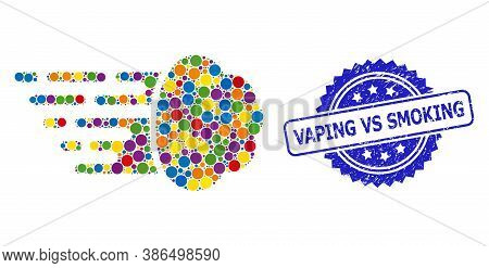 Bright Colored Collage Gas Cloud, And Vaping Vs Smoking Grunge Rosette Seal Print. Blue Seal Include