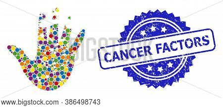 Colorful Mosaic Destructed Hand, And Cancer Factors Corroded Rosette Stamp Seal. Blue Stamp Seal Con