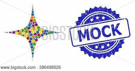 Colored Collage Space Star, And Mock Grunge Rosette Stamp Seal. Blue Stamp Seal Contains Mock Captio