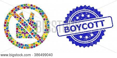 Multicolored Collage Forbidden Open Clothes, And Boycott Grunge Rosette Stamp Seal. Blue Stamp Seal