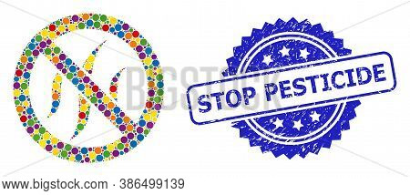 Bright Colored Collage Forbidden Flavors, And Stop Pesticide Dirty Rosette Stamp Seal. Blue Stamp Se