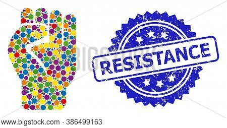 Vibrant Collage Clenched Fist, And Resistance Rubber Rosette Seal Print. Blue Stamp Seal Contains Re