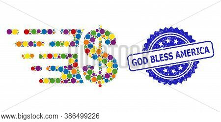 Colored Collage Dollar, And God Bless America Corroded Rosette Seal Print. Blue Stamp Seal Has God B