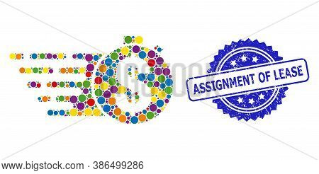 Multicolored Collage Credit Meter, And Assignment Of Lease Scratched Rosette Seal Print. Blue Seal H