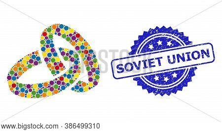Bright Colored Mosaic Wedding Rings, And Soviet Union Corroded Rosette Seal Print. Blue Seal Include