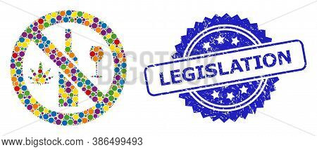 Vibrant Mosaic Forbidden Wine Drugs, And Legislation Grunge Rosette Stamp Seal. Blue Seal Contains L
