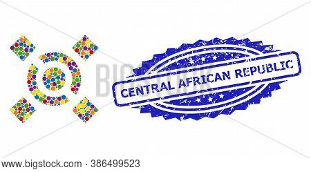 Colorful Collage Central Link, And Central African Republic Rubber Rosette Seal. Blue Seal Has Centr