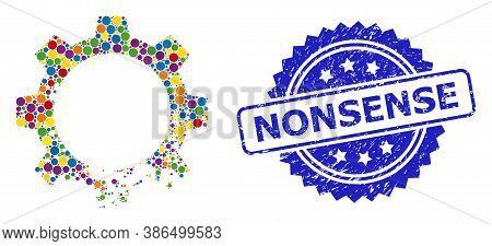 Colored Mosaic Damaged Gear, And Nonsense Grunge Rosette Stamp Seal. Blue Stamp Seal Includes Nonsen