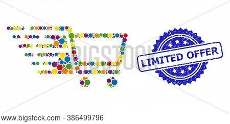 Vibrant Mosaic Shopping Cart, And Limited Offer Dirty Rosette Stamp. Blue Stamp Seal Includes Limite