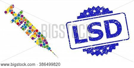 Bright Colored Mosaic Vaccine, And Lsd Unclean Rosette Stamp. Blue Stamp Includes Lsd Text Inside Ro