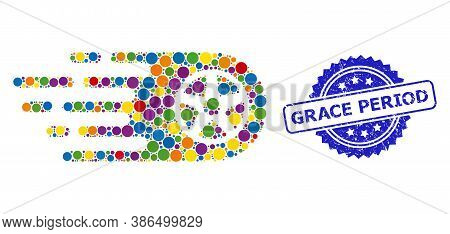 Colored Mosaic Tire Wheel, And Grace Period Rubber Rosette Seal Print. Blue Stamp Seal Contains Grac