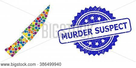 Bright Colored Mosaic Knife, And Murder Suspect Unclean Rosette Seal. Blue Seal Has Murder Suspect T
