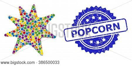 Multicolored Collage Exploding Boom, And Popcorn Grunge Rosette Stamp. Blue Stamp Has Popcorn Text I
