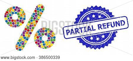 Colored Collage Percent, And Partial Refund Rubber Rosette Stamp Seal. Blue Seal Contains Partial Re