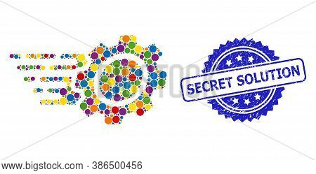 Colorful Collage Gear, And Secret Solution Dirty Rosette Seal Imitation. Blue Stamp Seal Contains Se