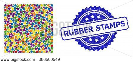 Colorful Collage Square Shape, And Rubber Stamps Dirty Rosette Stamp. Blue Stamp Has Rubber Stamps T