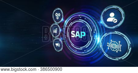 - Sap System Software Automation Concept On Virtual Screen Data Center. Business, Modern Technology,